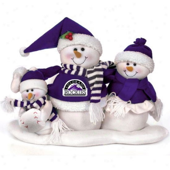 Cilorado Rockies Decorative Table Top Snowman Family Figurine