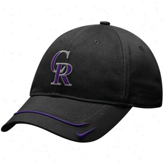 Colorado Rockies Hats : Nike Colorado Rockies Black Turnstyle Adjustable Hats