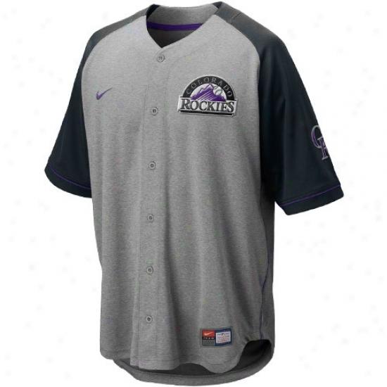 Colorado Rockies Jerseys : Nike Colorado Rockies Ash-black At 'em Full Button Baseball Jerseys