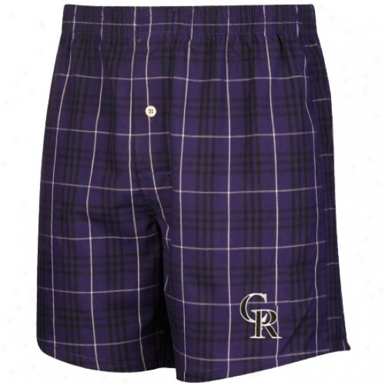 Colorado Rockies Purple Plaid Event Boxer Shorts