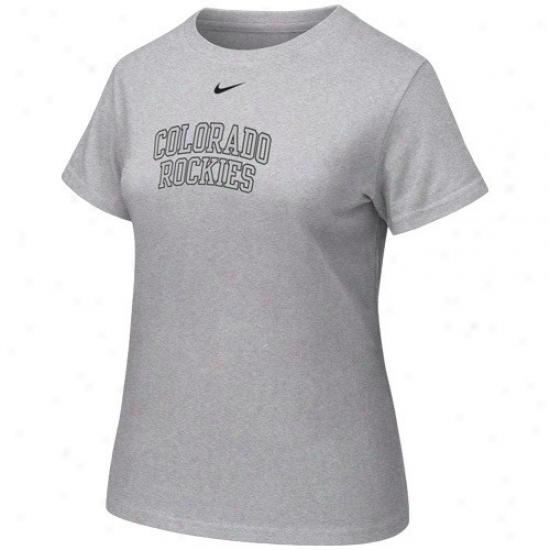Colorado Rockies Shirt : Nike Colorado Rockies Ladies Ash Vault Crew Shirt