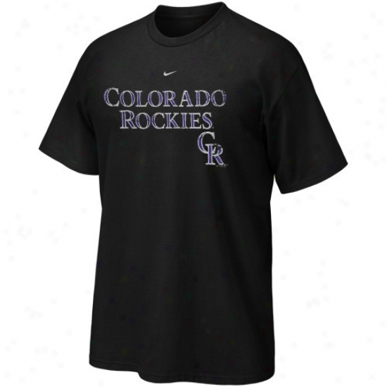 Colorado Rockies T-shirg : Nike Colorado Rockies Juvenility Black Distressed T-shirt