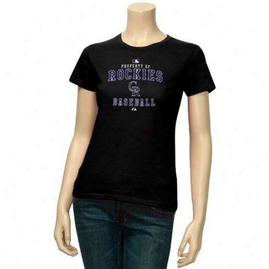 Colorado Rockies Tshirts : Majestic Colorado Rockies Ladies Black Ownership Of Tshirts