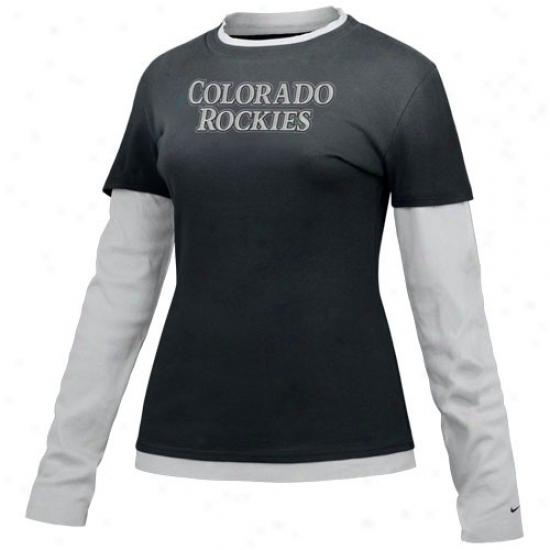 Colorado Rockies Tshirts : Nike Colorado Rockies Ladies Black Twice Layer Cut Lacking Long Sleeve Tshirts