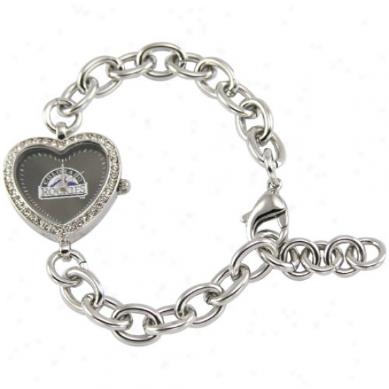 Colorado Rockies Watch : Colorado Rockies Ladies Silver Heart Watch