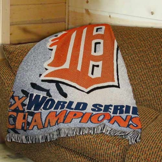Detroit Tigers  4-time World Series Champions Woven Throw Blanket