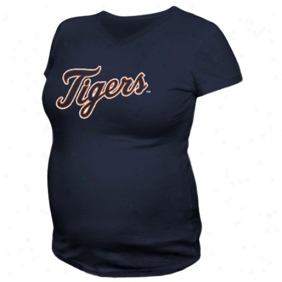 Detroit Tigers Apparel : Detroit Tigers Ladies Navy Blue Mom's Maternity T-shirt