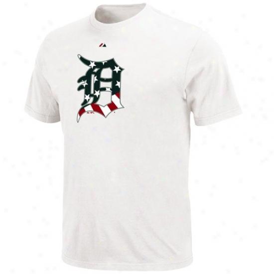 Detroit Tigers Apparel: Majestic Detroit Tigers White Stars & Stripes Logo T-shirt