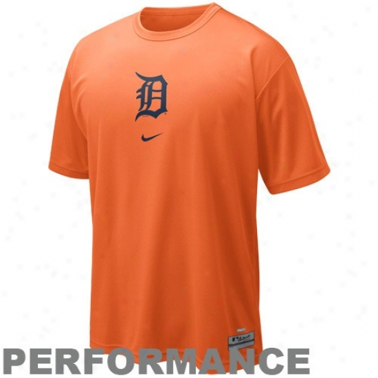 Detroit Tigers Apparel: Nike Detroit Titrs Orange Nikefit Logo Performance T-shirt
