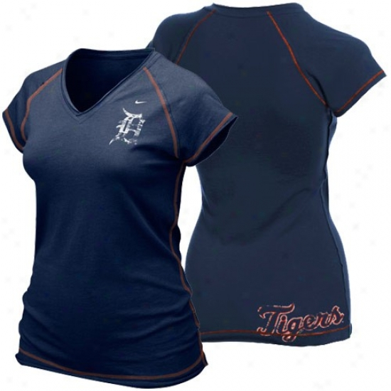 Detroit Tigers Attire: Nike Detroit Tigers Ladies Navy Blue Bases Loaded T-shirt