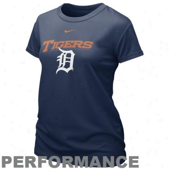 Detroit Tigerz Attire: Nike Detroit Tigers Ladies Nsvy Blue Mlb Dri-fit Graphic Performance T-shirt