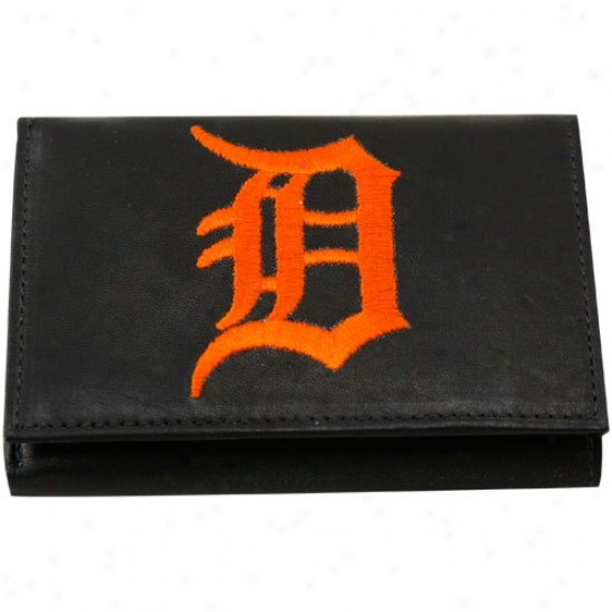 Detroit Tigers Black Leather Billfold Wallet
