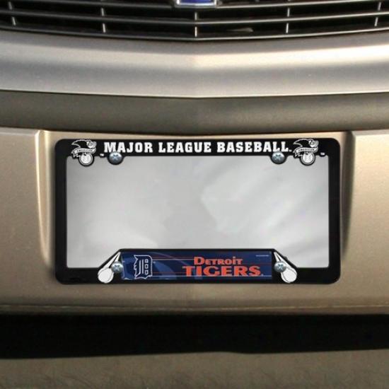 Detroit Tigers Black Plastic License Plate Frame