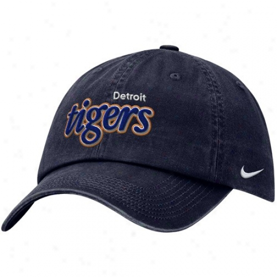 Detroit Tigers Gear: Nike Detroit Tigers Navy Blue Teat Out Adjustable Hat