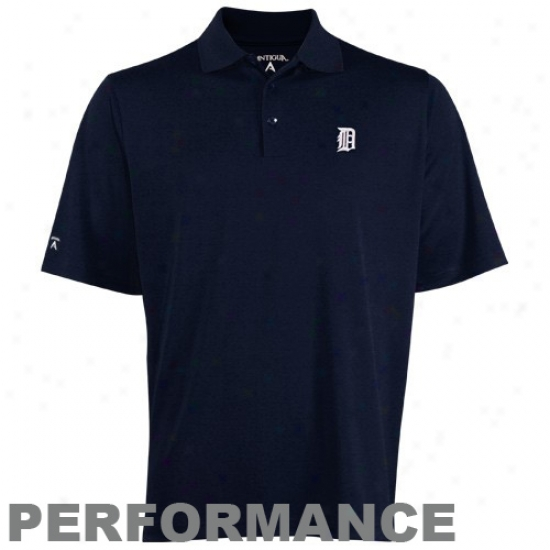 Detroit Tigers Golf Shirt : Antigua Detroit Tigers Navy Blue Exceed Golf Shirt