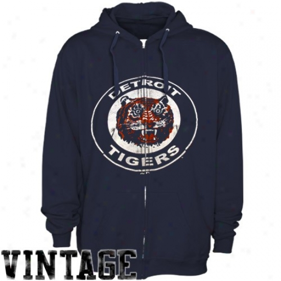 Detroit Tigera Hoodie : Majestic Detroit Tigers Navy Blue Built Tough Cooperstown Full Zip Hooide