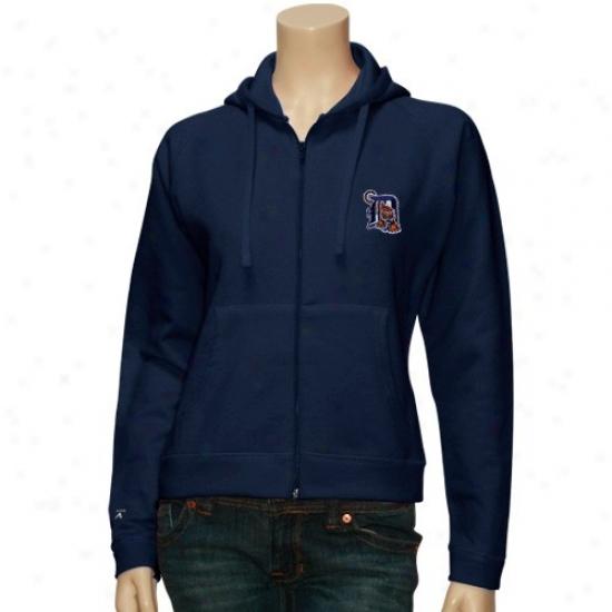 Detroit Tigers Hoodies : Antigua Detroit Tigers Ladies Navy Blue Complete Zip Hoodies