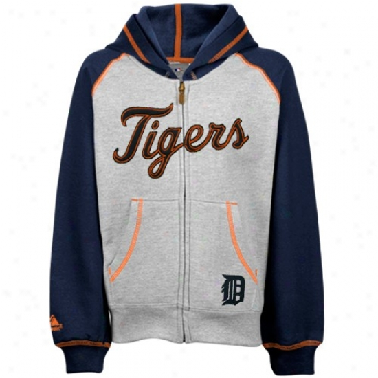 Detroit Tigers Hoodies : Detroit Tigers Preschool Ash Classic Full Zip Hoodiees