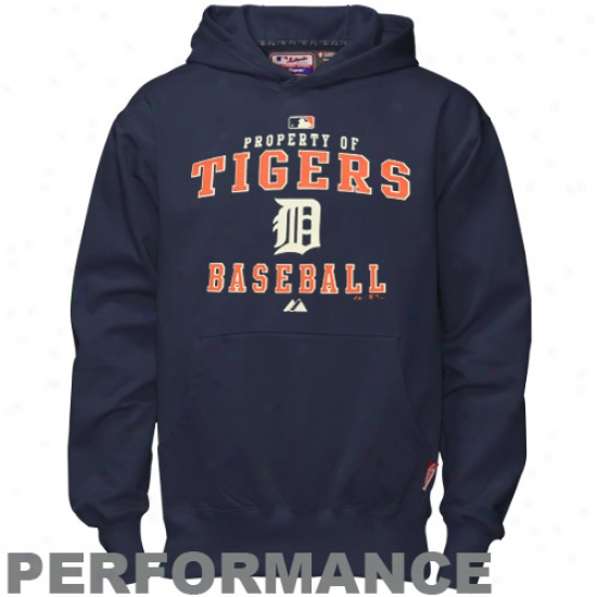 Detroit Tigers Hoodies : Majestic Detroit Tigers Youth Navy Livid Property Of Performance Hoodies