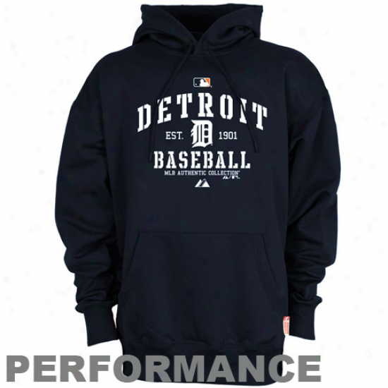 Detroit Tigers Hoody : Majestic Detroit Tigers Navy Blue Ac Classic Therma Base Performance Hoody