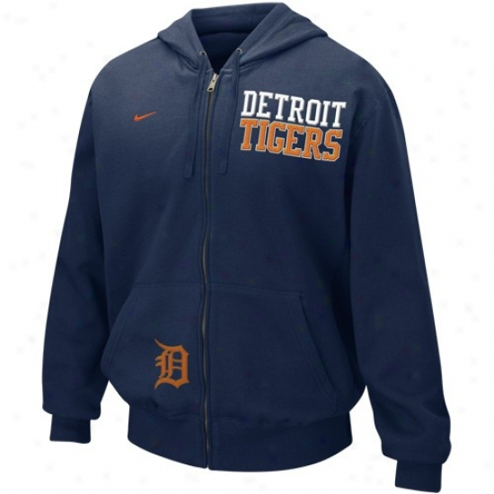 Detroit Tigers Hoodys : Nike Detroit Tigers Navy Blue Full Zip Embroidered Hoodys