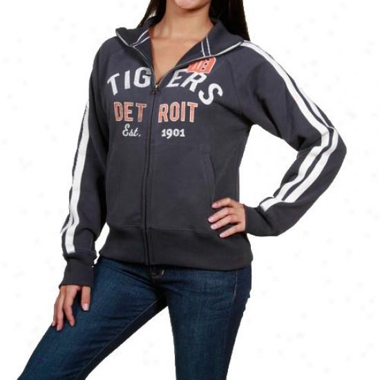 Detroit Tigers Jacket : Banner '47 Detroit Tigers Ladies Navy Blue Walkoff Track Full Zip Jacket