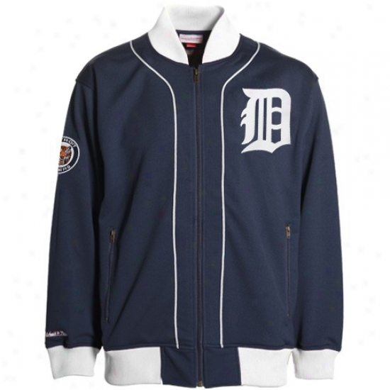 Detroit Tigers Jackets : Mitchell & Ness Detroit Tigers Navy Blue Sportsman Throwback Jackets