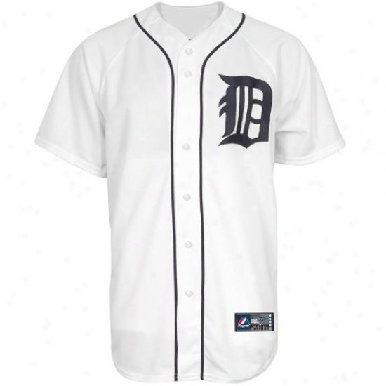 Detroit Tigers Jersey : Majestic Detroit Tigers White Replica Baseball Jersey