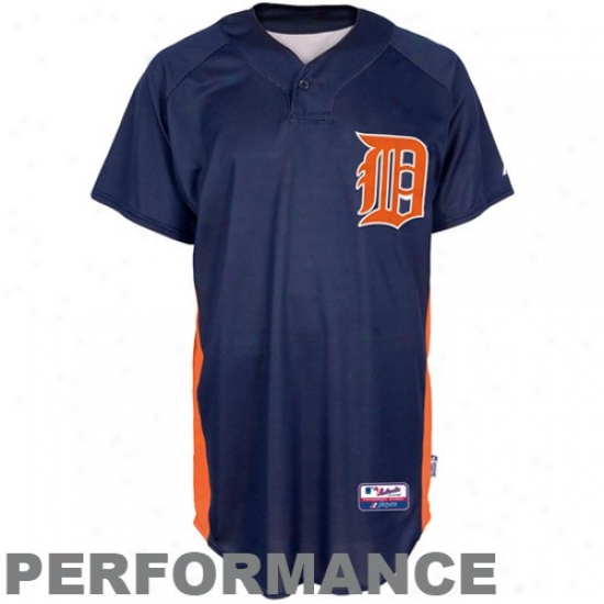 Detroit Tigers Jersey : Majestic Detroit TigersN avy Blue Batting Practice Performance Baseball Jersey