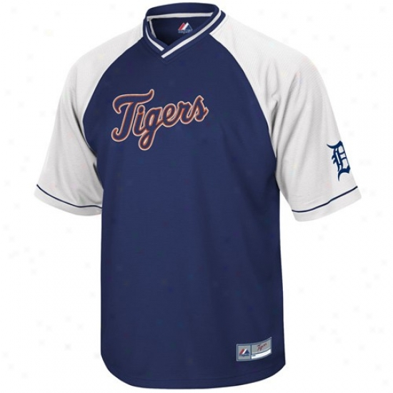Detroit Tigers Jerseys : Majestic Detroit Tigers Navy Blue-white Full Force V-neck Jerseya
