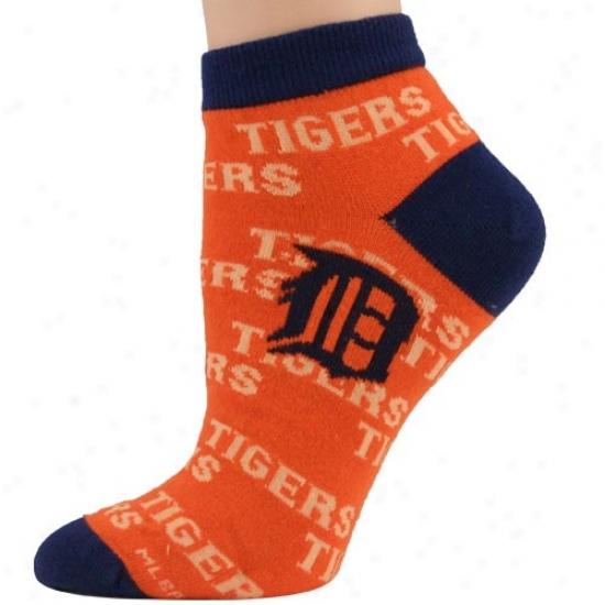 Detroit Tigers Ladies Orange Background Repeat Ankle Socks