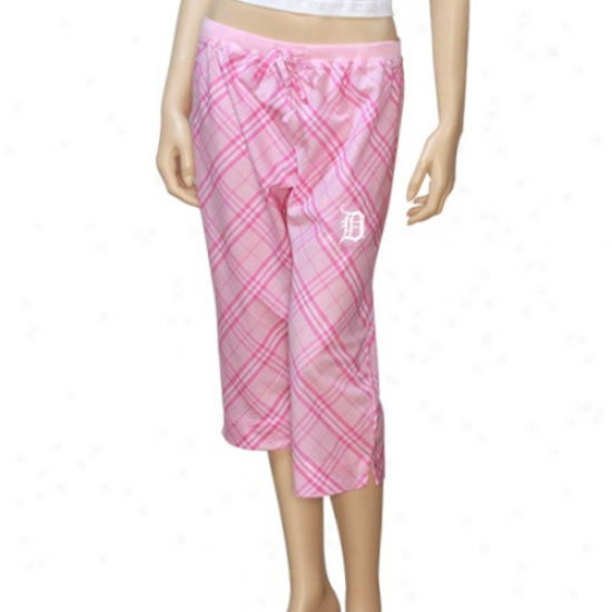 Detroit Tigers Ladies Pink Plaid Kona Crop Lounge Pants