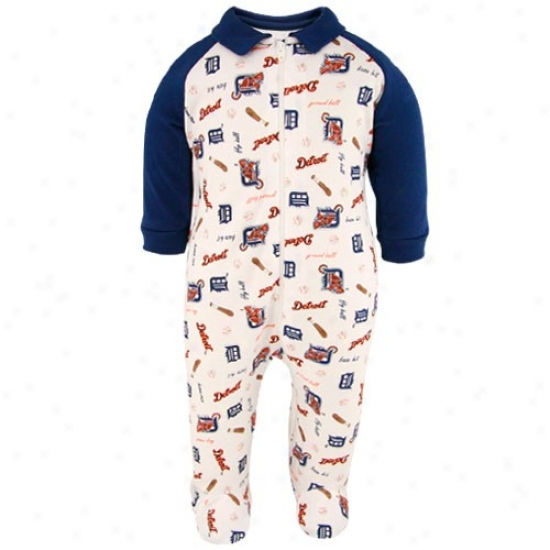 Detroit Tigers Newborn White-navy Blue Full Zip Fokted Sleeper