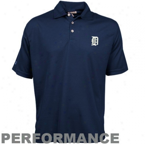 Detroit Tigers Polos : Antigua Detroit Tigers Navy Blue Excellence Performance Poloss