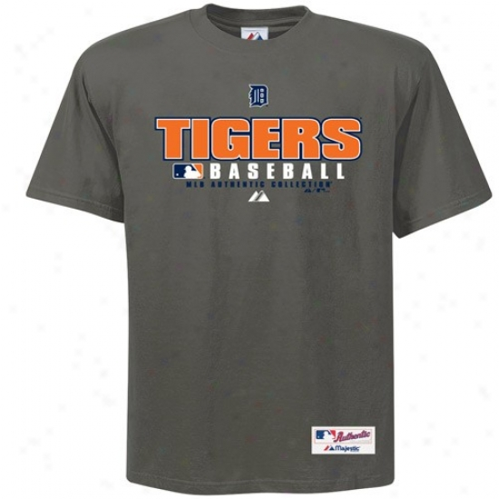 Detroit Tigers Shirt : Majestic Detroit Tigers Charcoal Practice Shirt