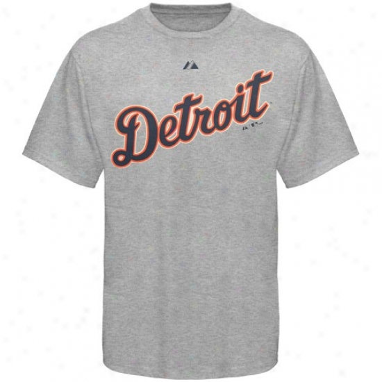 Detroit Tigers Shirts : Majestic Detroit Tigers Ash Official Road Wordmark Shirts