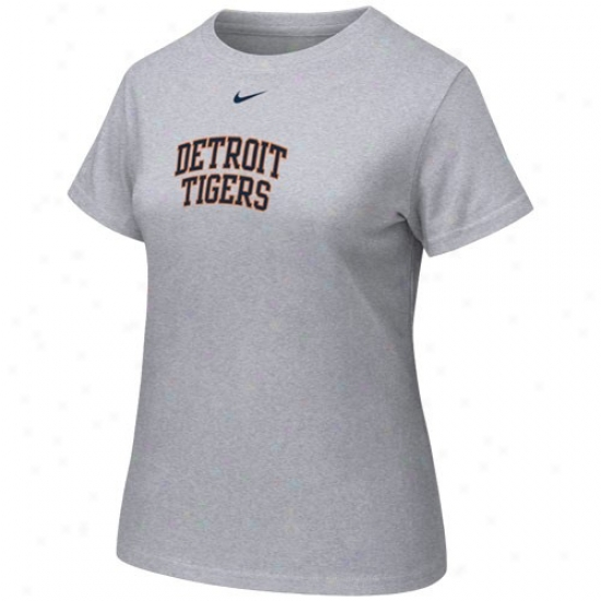 Detroit Tigers Shirts : Nike Detroit Tigers Ladies Ash Arch Crew Shirts