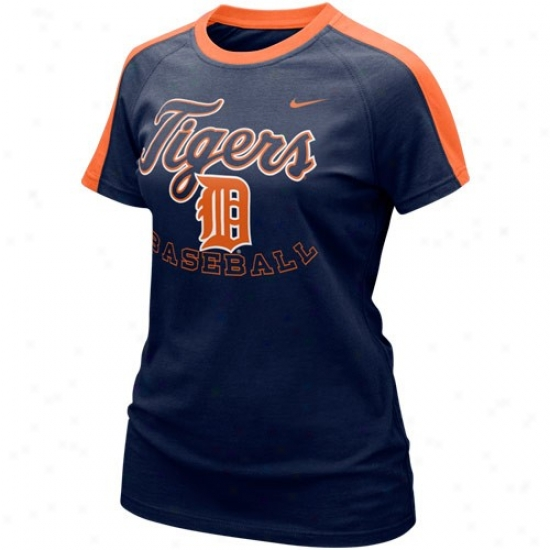 Detroit Tigers Shirts : Nike Detroit Tigers Ladiws Navy Blue Center Field Shirts