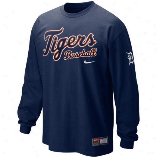Detroit Tigers Shirts : Nike Detroit Tigere Navy Blue Practice Long Sleeve Shirts