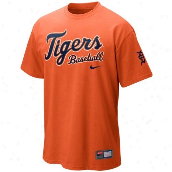 Detroit Tigers Shirts : Nike Detroit Tigers Orangge Mlb 2010 Practice Shirts