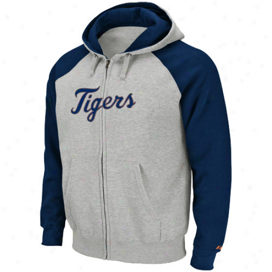 Detroit Tigers Stuff: Majestic Detroit Tigers Navy Blue-ash Extra Innings Abounding Zip Hoody Sweatshirt