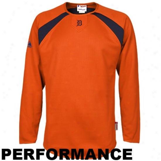 Detroit Tigers Stuff: Elevated Detroit Tigers Orange Therma Base Tech Performance Fleece Sweatshirt