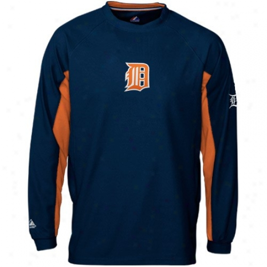 Detroit Tigers Sweat Shirts : Majestic Detroit Tigers Navy Blue Heater Iii Long Sleeve Crew