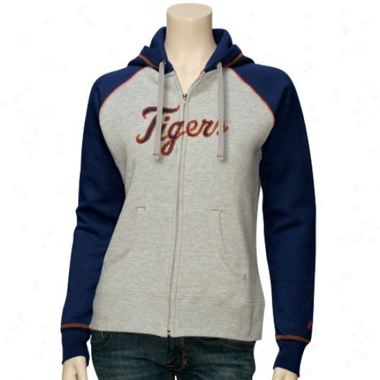 Detroit Tigers Sweatshirt : Majestic Detroit Tigers Ladies Ash Classic Completely Zip Sweatshirt