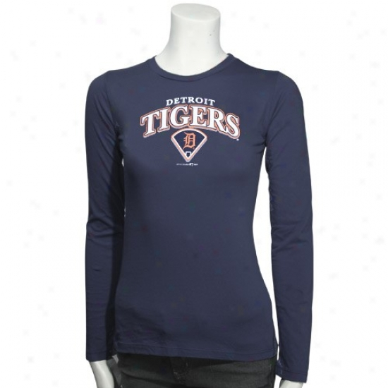 Detroit Tigers T-shirt : Detroit Tigers Navy Melancholy Ladies Arch Logo Diamond Long Sleeve T-shirt