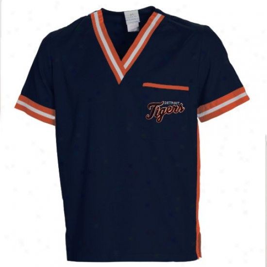 Detroit Tigers T-shirt : Detroit Tigers Navy Blue Scrub Top