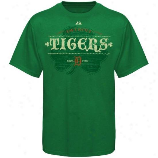 Detroit Tigers T Shirt : Majestic Detroit Tigers Kelly Green Irish Baseball T Shirt