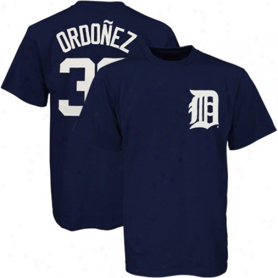 Detroit Tigers T-shirt : Majestic Detroit Tigers #30 Magglio Ordonez Navy Blue Youth Players T-shirt