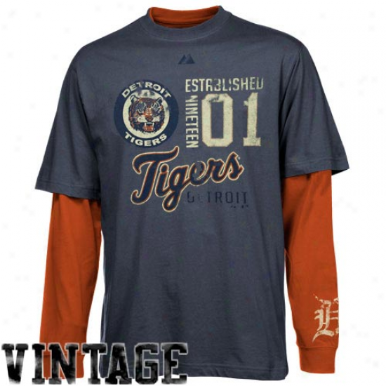 Detroit Tigsrs T-shirt : Majestic Detroit Tigers Navy Blue-orange Magic Moment Cooperstown Double-layer Long Sleeve T-shirf