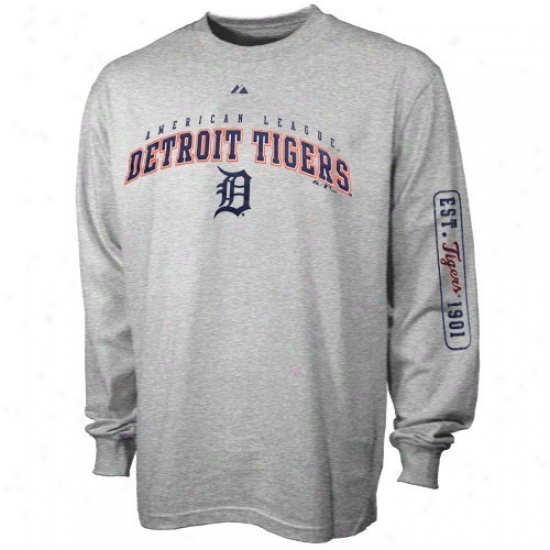 Detroit Tigers T Shirt : Majestic Detroit Tiegrs Youth Ash Season Great Long Sleeve T Shirt